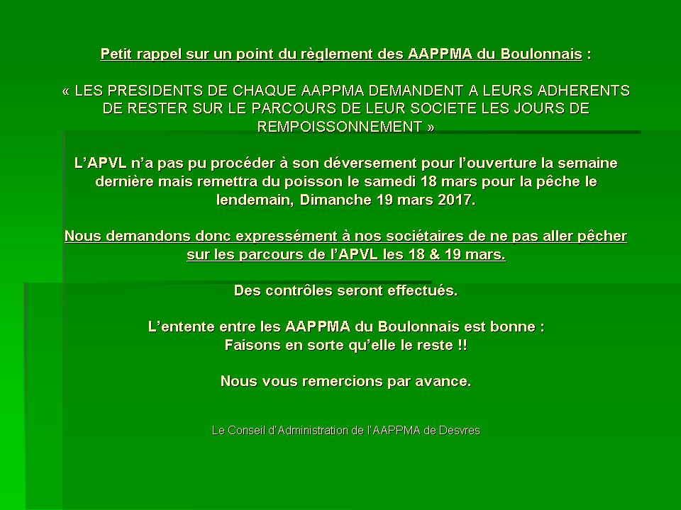Interdiction APVL 18 et 19 mars